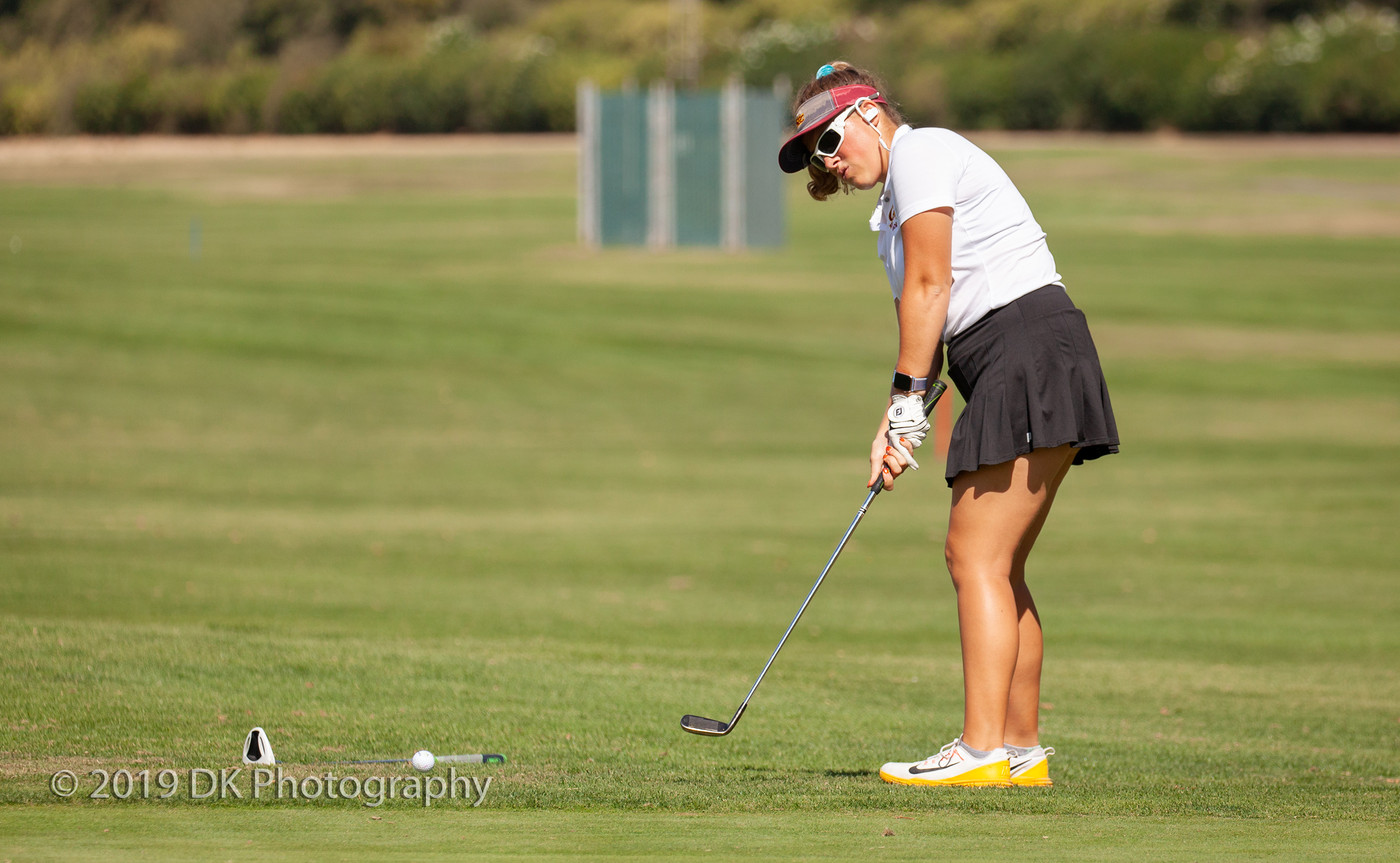 Ryley Krum, City College sophomore stares down her chip  shot on the 6th hole at the Jan High Memorial at Bing Maloney Golf Course on Oct. 8th.