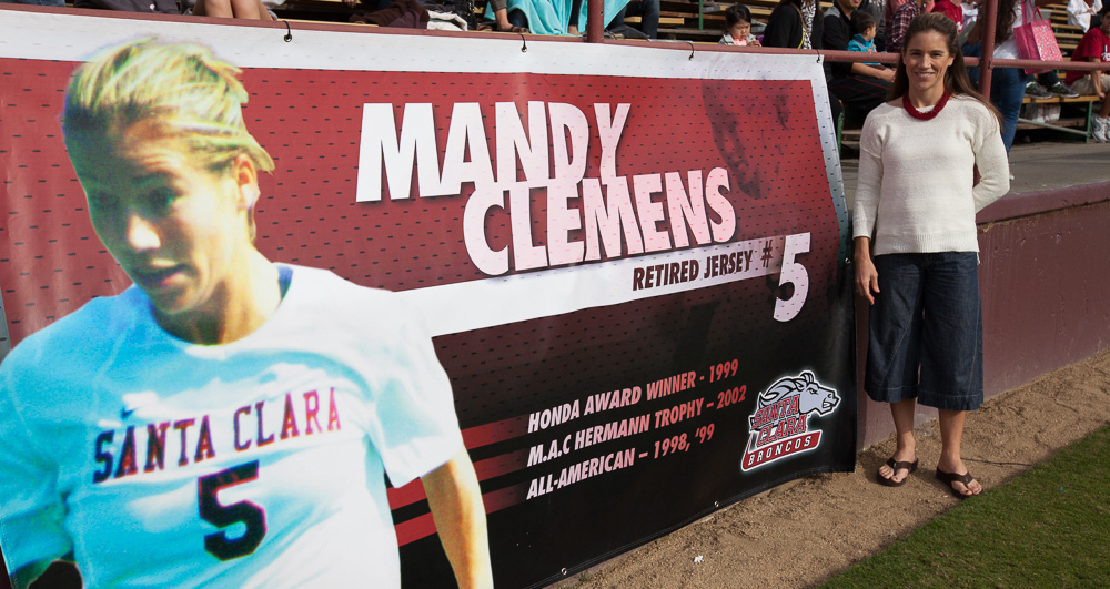 Women's Soccer Honors No. 5 Jersey of Mandy Clemens