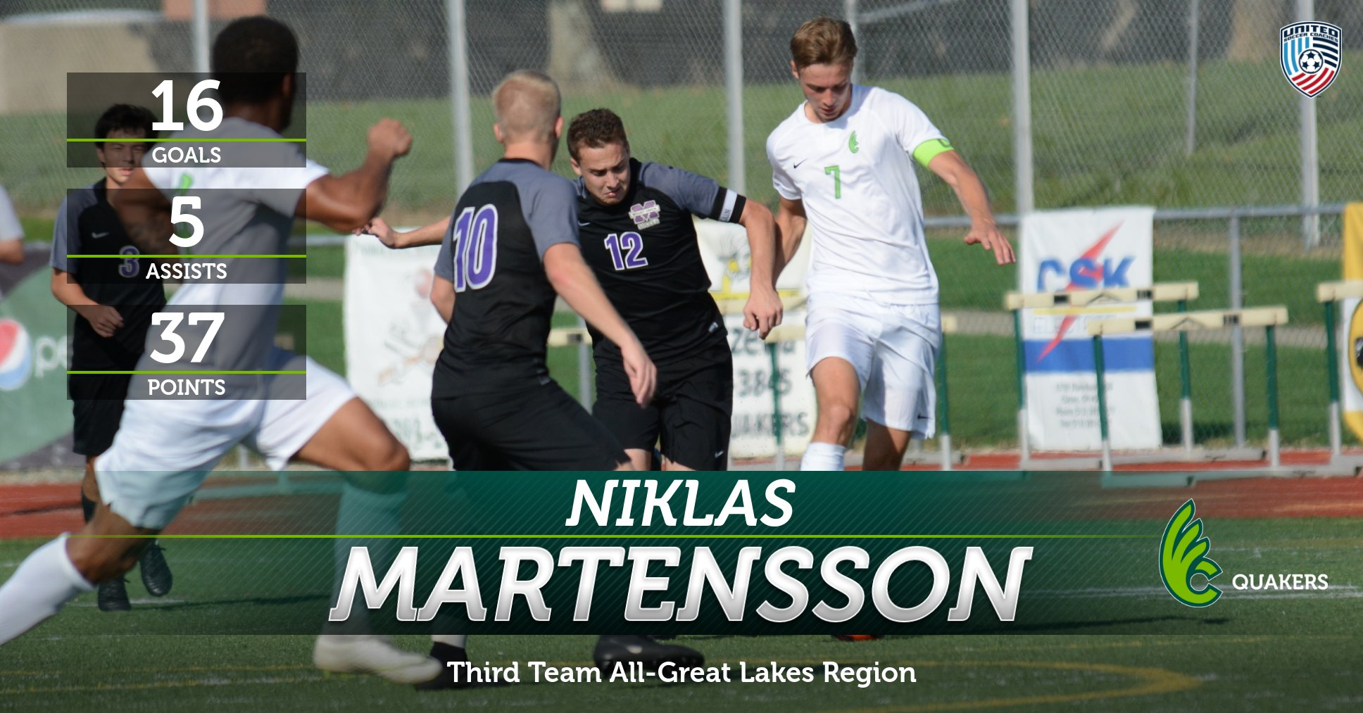 Martensson Garners Third Team All-Great Lakes Region Honors from United Soccer Coaches