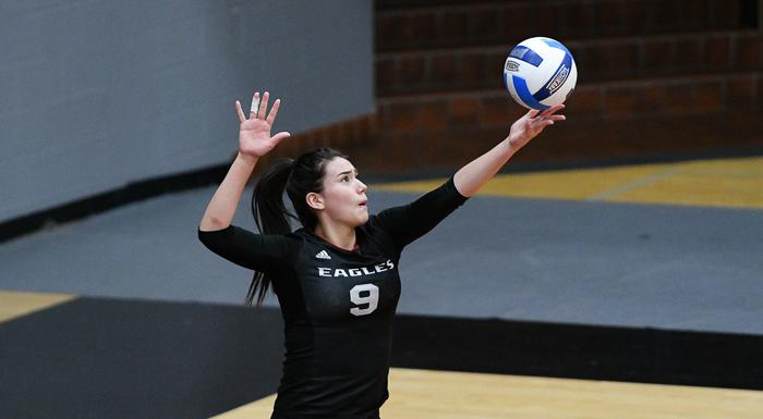 Aixa Vigil serves against St. Pete. She had 12 kills and eight digs in a 3-0 victory. (Photo by Tom Hagerty, Polk State.)