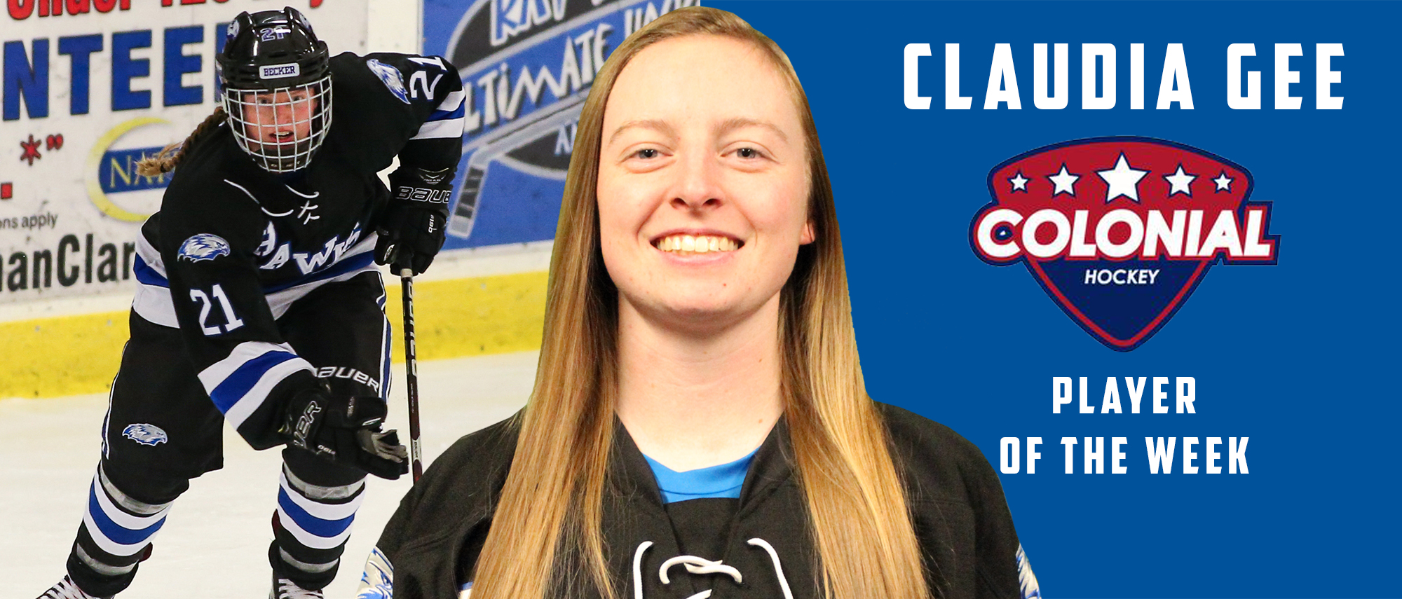 Claudia Gee, Colonial Hockey Conference Player of the Week (Dec. 10)