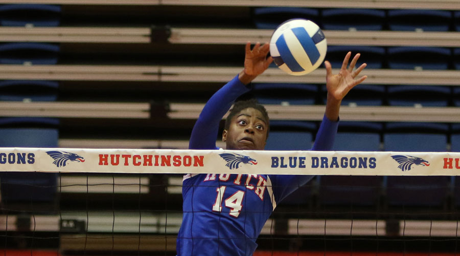 Tatyana Ndekwe had 13 kills and five block in Hutchinson's 3-0 victory over Dodge City on Monday night. (Joel Powers/Blue Dragon Sports Information)