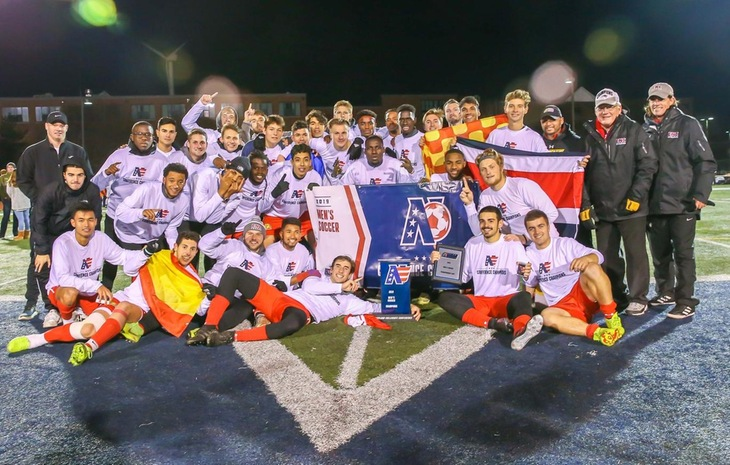 NECC CHAMPS! Men's Soccer Captures NECC Championship with 3-1 Victory at Lesley