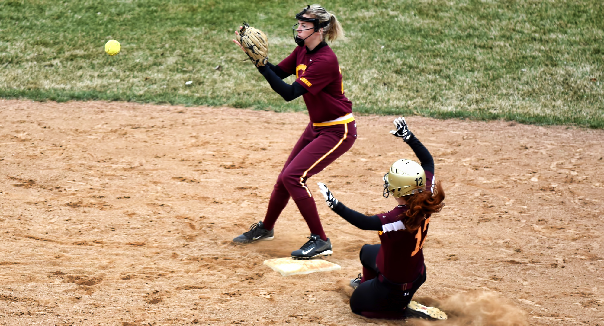 Freshman Megan Gavin gets ready to make the force out at send base during the Cobbers' sweep over UM-Morris. She earned the win in the first game and also added to her team-leading home run total.