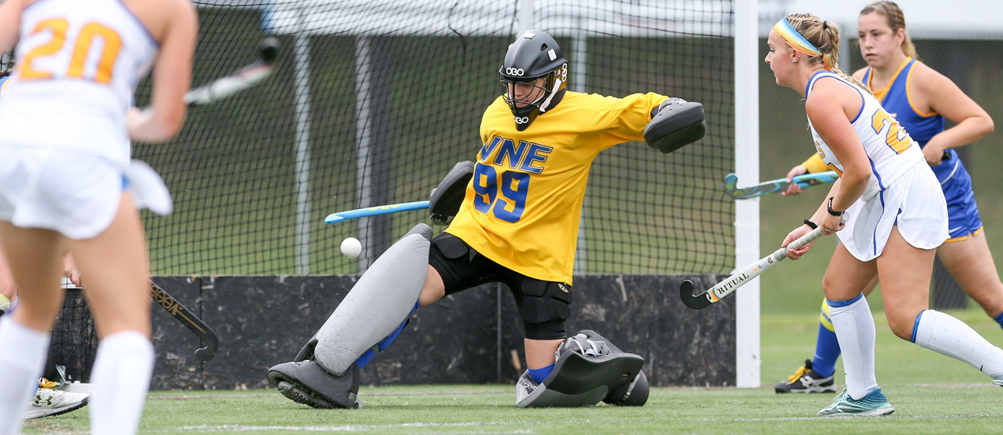 Senior goalkeeper Dana Dufour made a career-high 29 saves in Western New England's 5-0 loss to Endicott on Saturday. (Photo by Chris Marion)