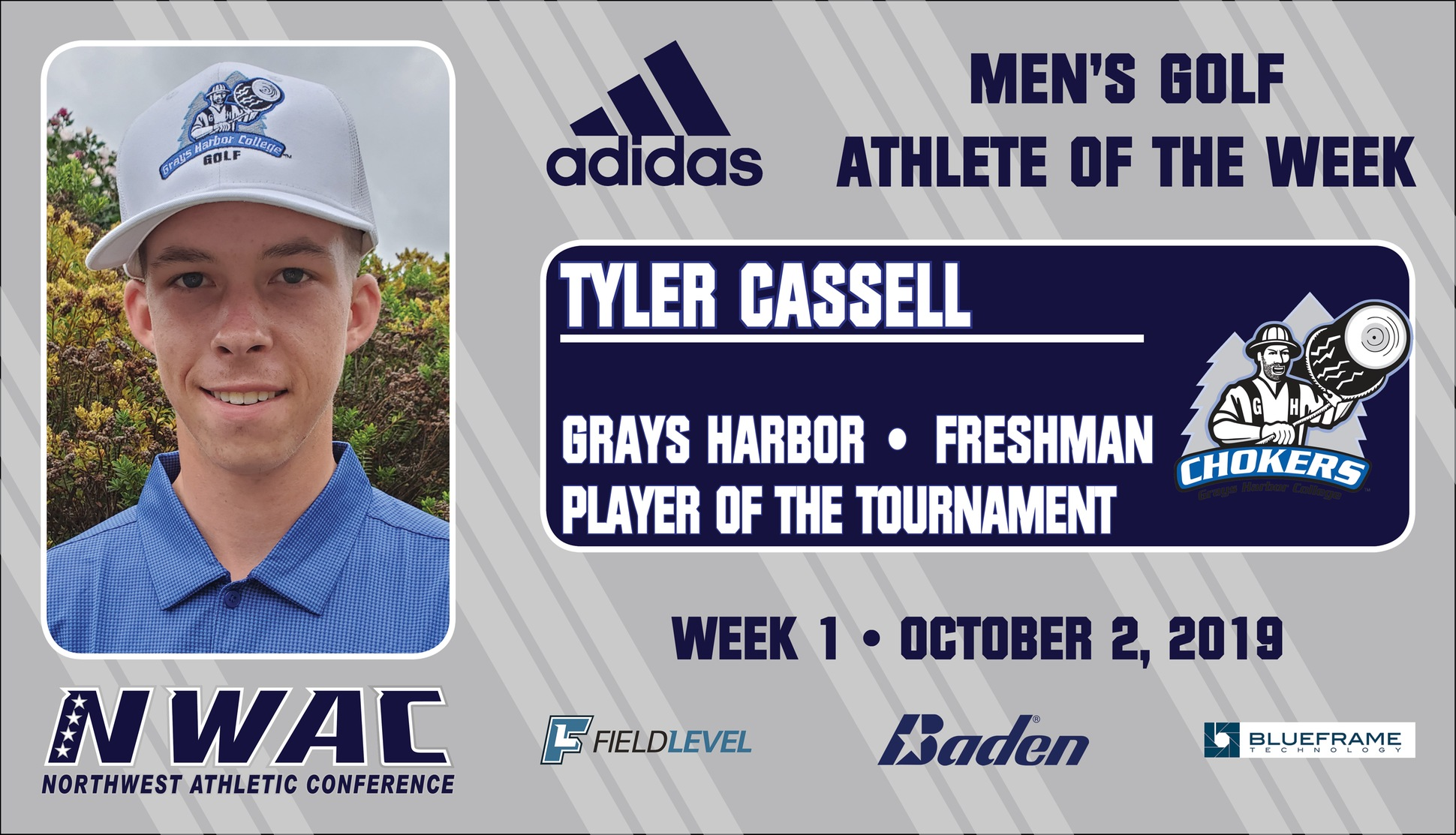 Graphic of Tyler Cassell athlete of the week