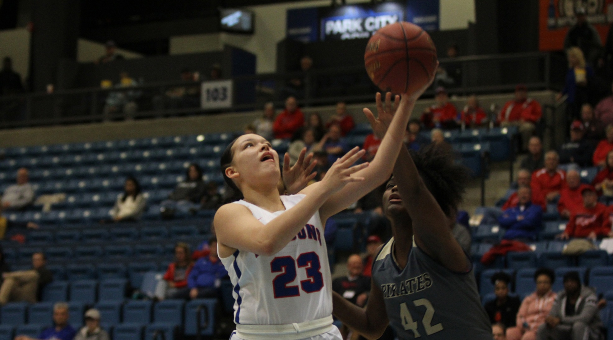 Makayla Vannett scored 17 points and hit three big 3-pointers to help the No. 8 Blue Dragons to a 74-62 win over Independence in the quarterfinals of the Region VI Tournament at Hartman Arena in Park City on Saturday. (Bre Rogers/Blue Dragon Sports Information).