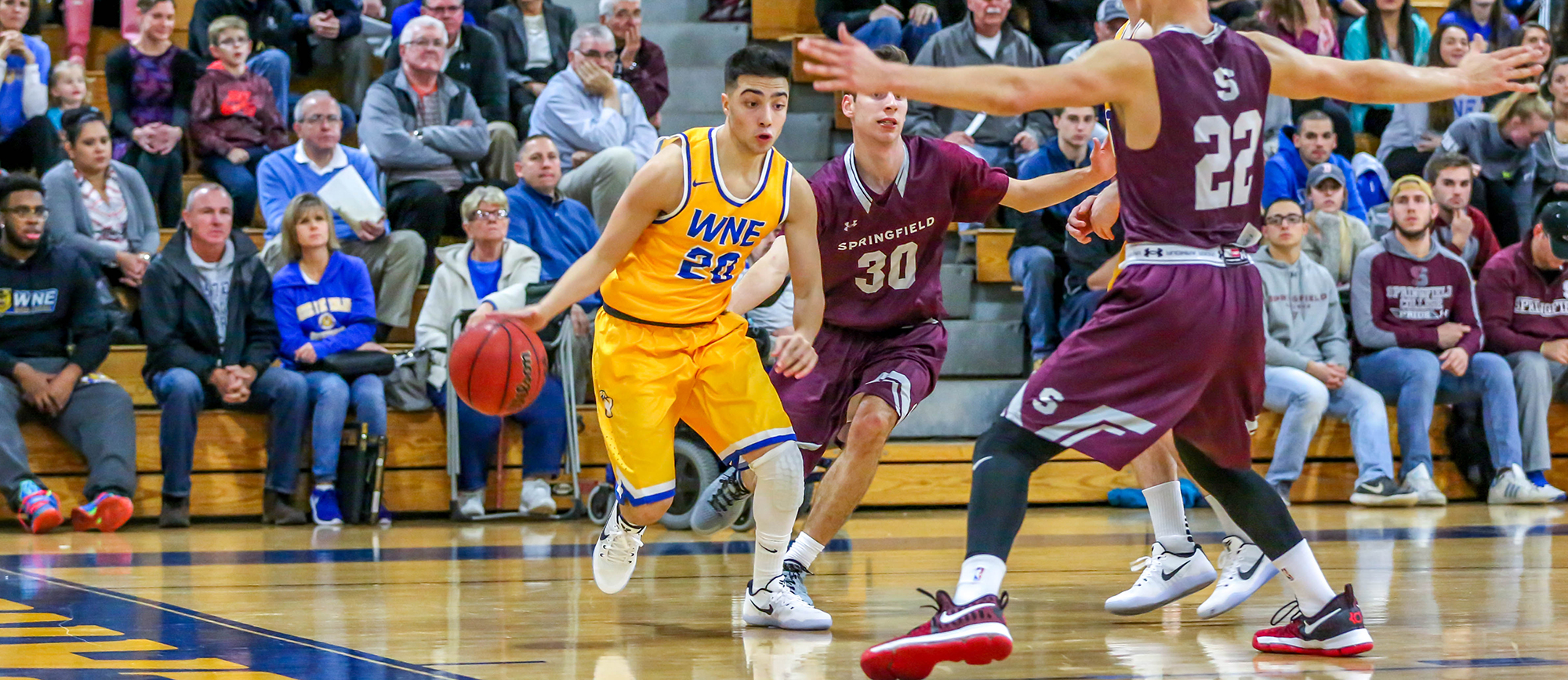 Sophomore guard Nick DeGennaro scored a career-high 13 points in Western New England's win over Curry on Thursday night (Photo by Geoff Riccio).