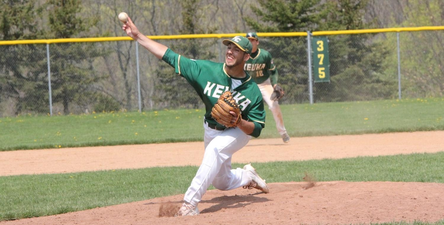 Bryen Johnsen (22) pitched four shutout innings to earn the victory for Keuka College