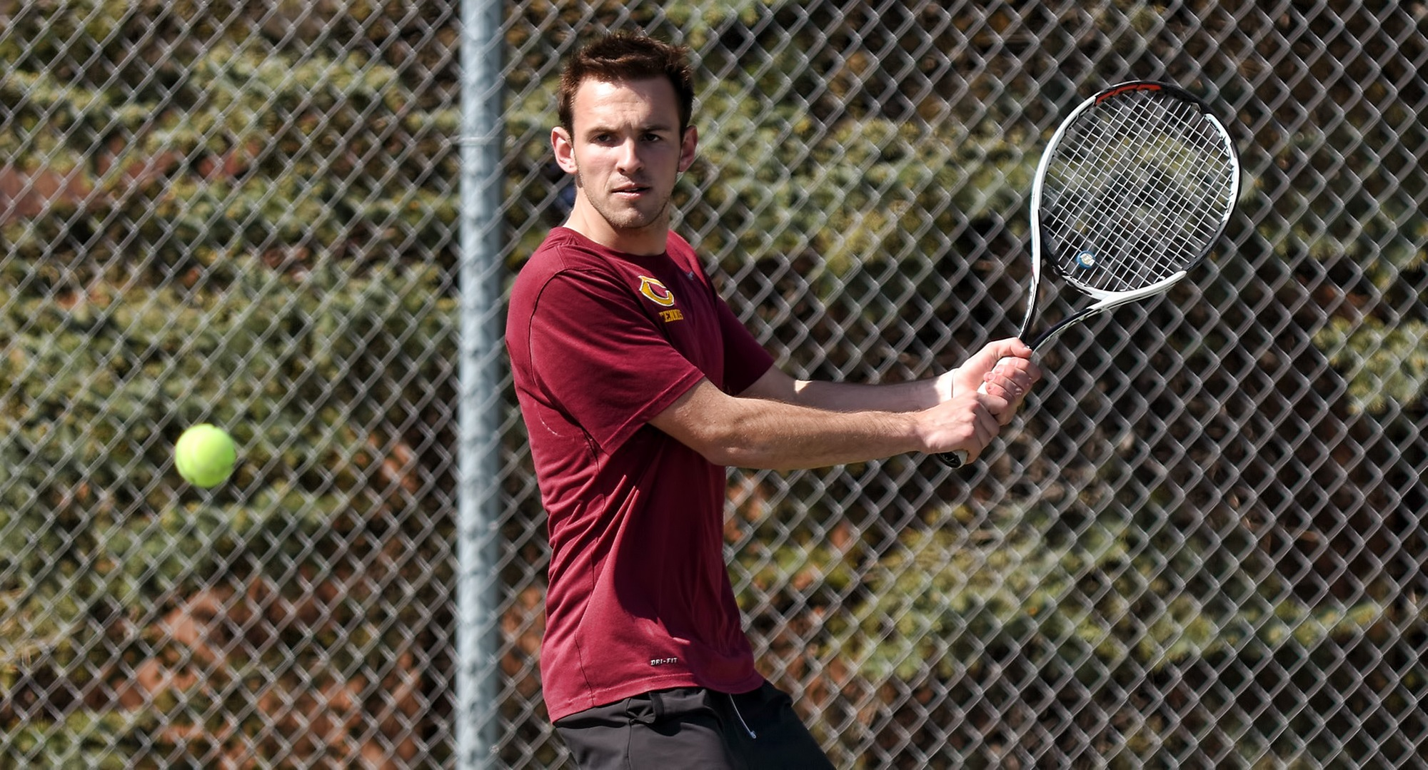 Senior David Youngs won his singles match against a DII opponent from Augustana (S.D.) during the Cobbers' annual I-29 Battle with the Vikings and UND.