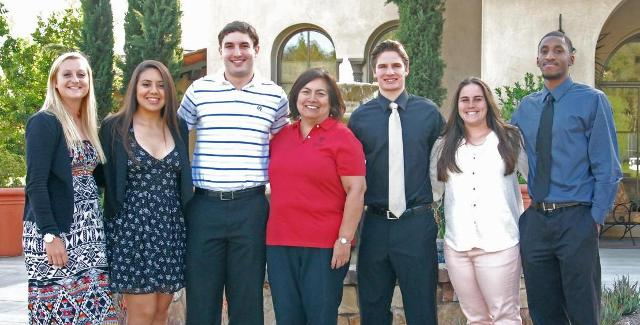 The 2014 Athletic Hall of Fame scholarship winners, from left to right, Heather Robertson, Katie Delgado, Kevin Horn, SAC President Dr. Erlinda Martinez, Austin Schaefer, Danielle Hernandez and Cammie Lewis.