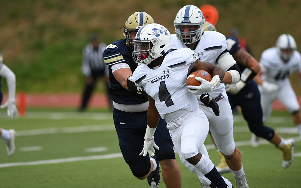 Freshman running back/quarterback SHerwin Stewart cuts to the outside at Juniata College. Photo courtesy of Juniata College Athletic Communications.