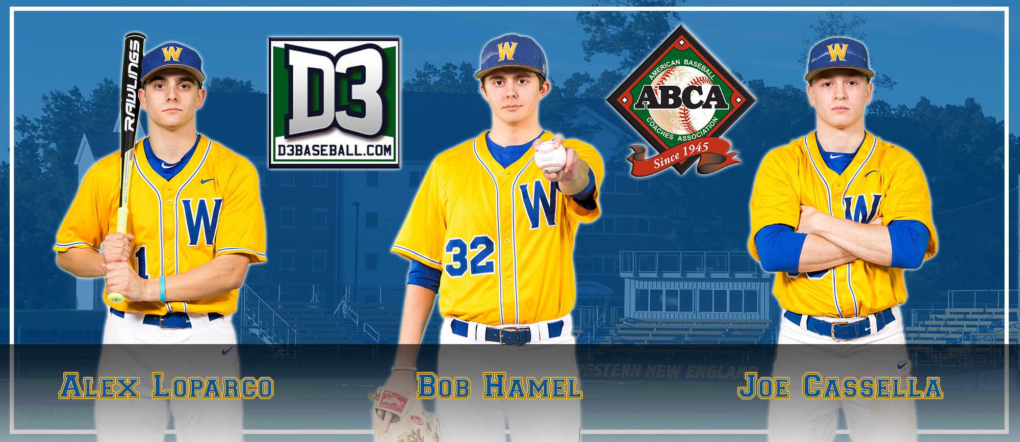 Hamel, Loparco & Cassella Earn All-Region Honors from ABCA & D3Baseball.com