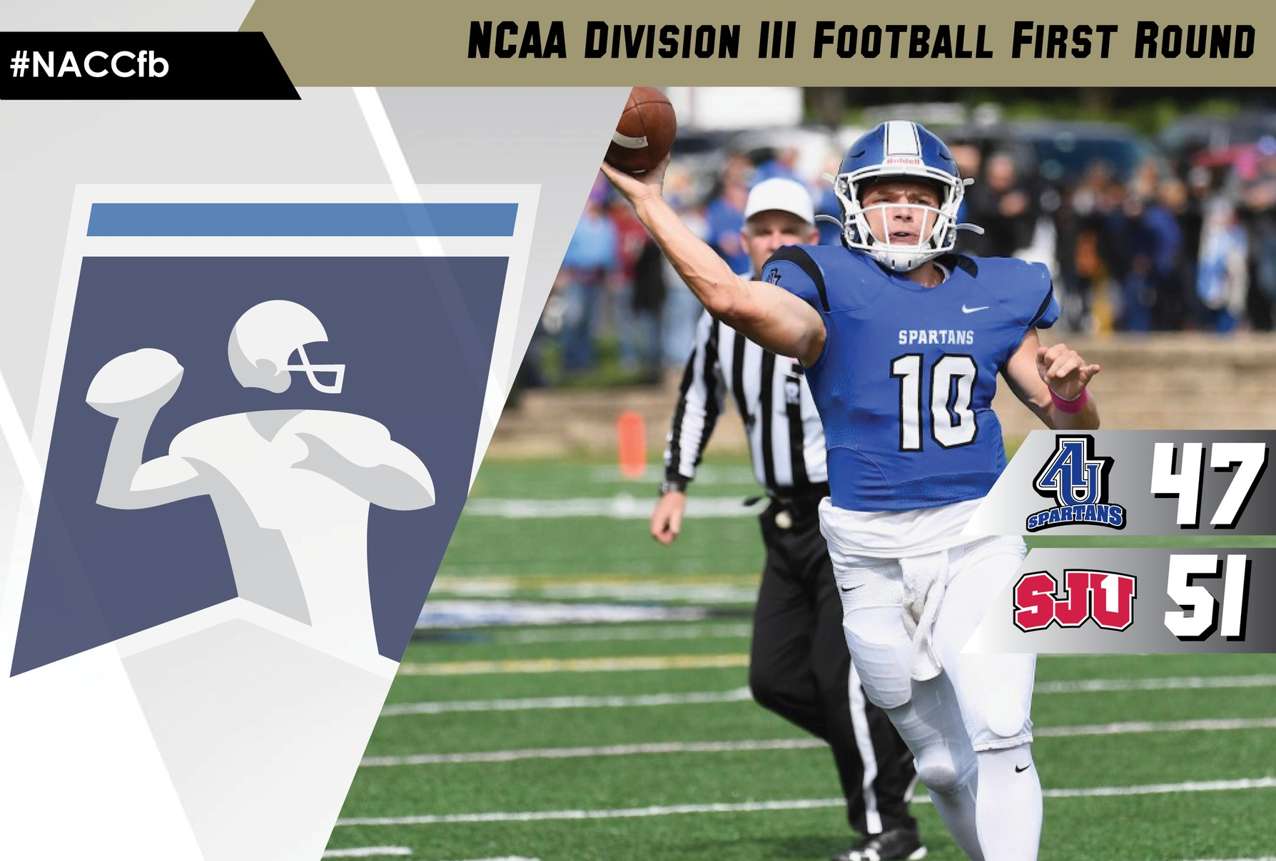 Aurora fell to Saint John's (Minn.), 51-47, Saturday in the first round of the 2019 NCAA Division III Football Championship.
