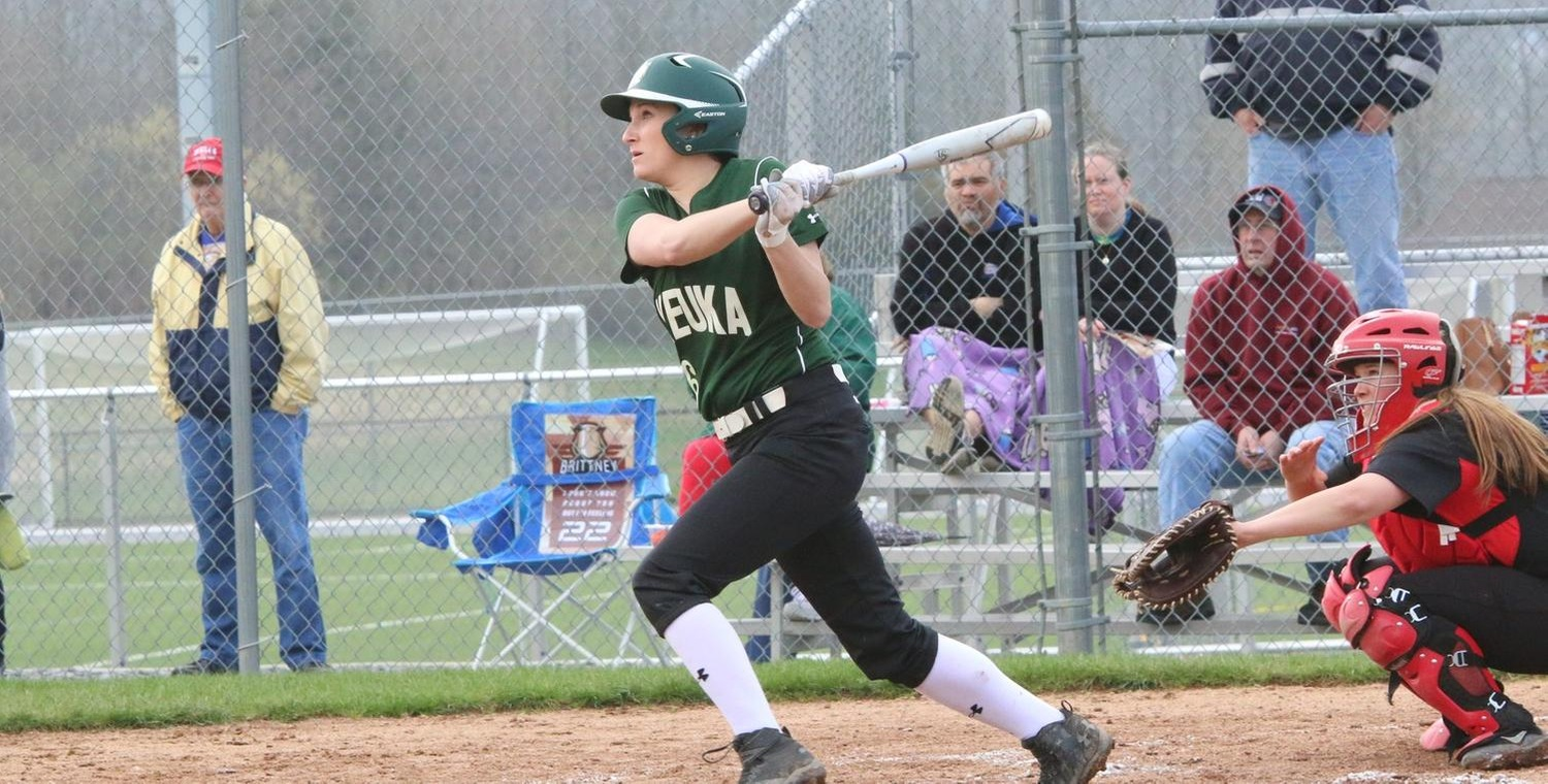 Alexa Brown (16) had a hit in both games, including a triple against SUNY Cobleskill for the Wolves