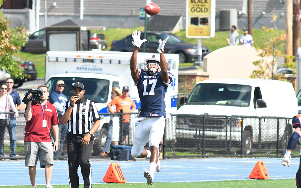 Jalen Richardson goes up for one of his two interceptions versus Gettysburg College at Rocco Calvo Field.