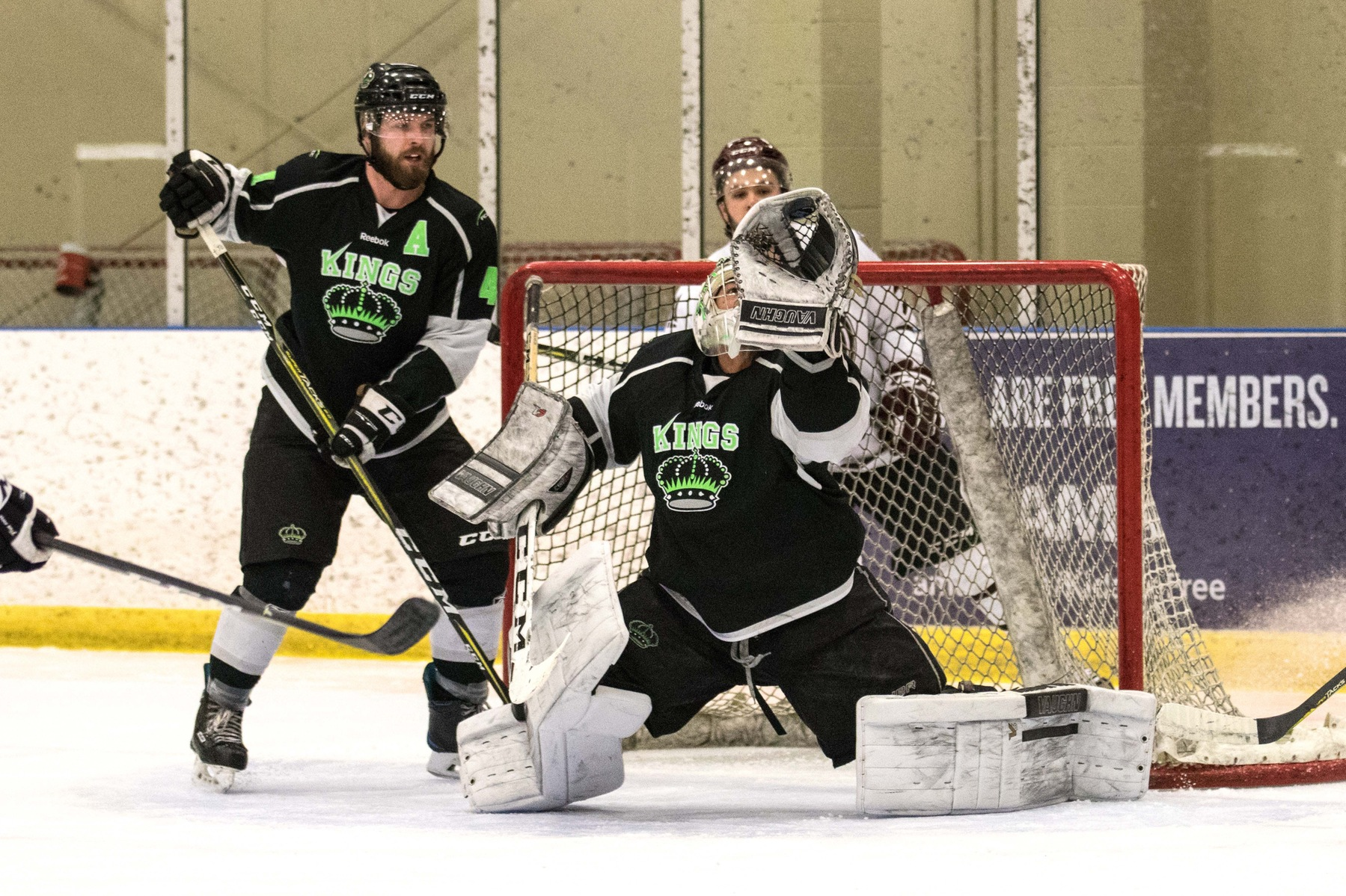 Mike Salmon (31) made 27 saves and Mike Statchuk (4) was steady on defence. Photo - Tony Hansen