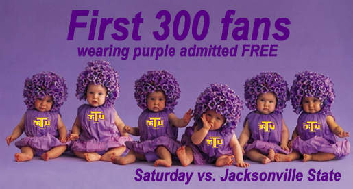 First 300 fans wearing purple admitted free Saturday night