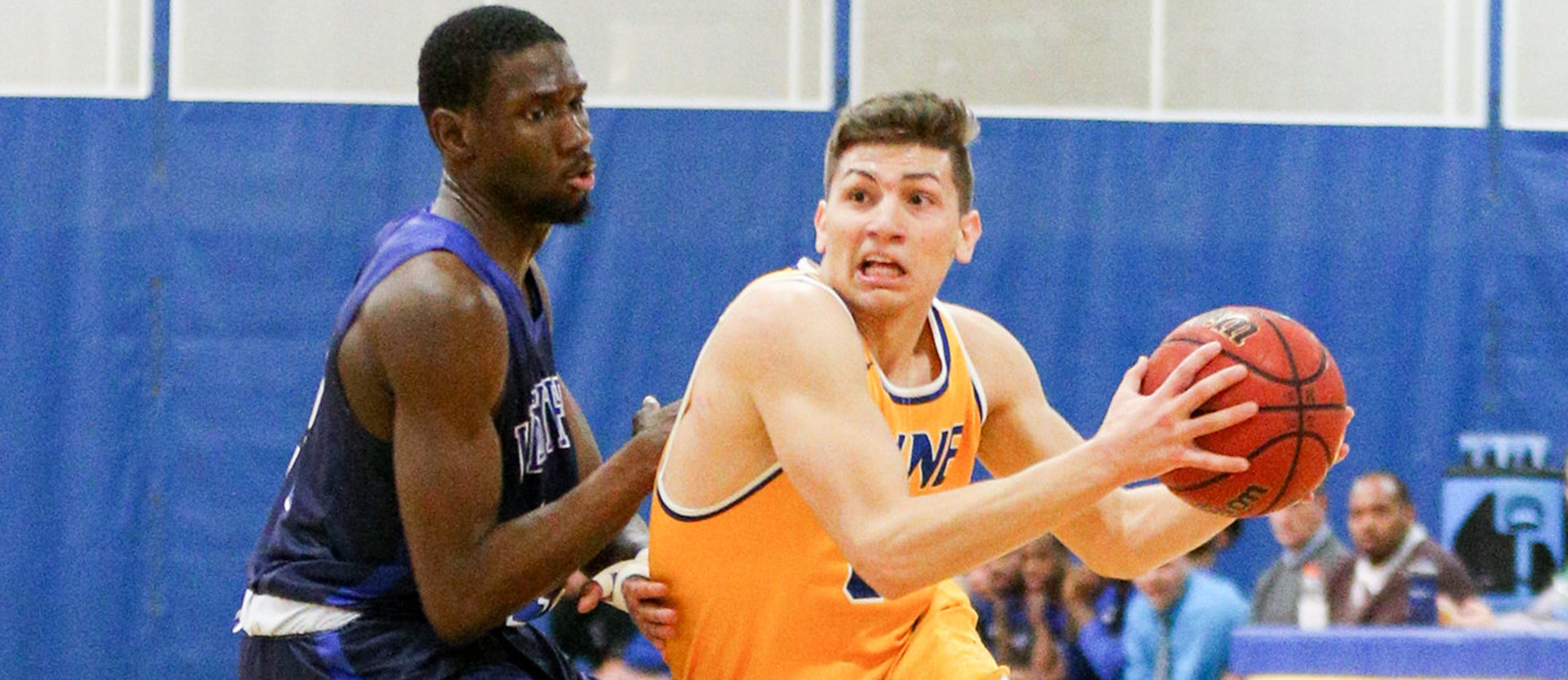 Antonio Brancato contributed 11 points, seven rebounds and five assists off the bench in Western New England's 87-78 loss to Endicott on Saturday. (Photo by Chris Marion)