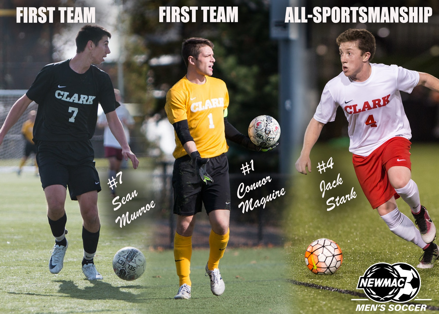 Maguire, Munroe, and Stark Earn NEWMAC 2017 Men's Soccer Postseason Awards
