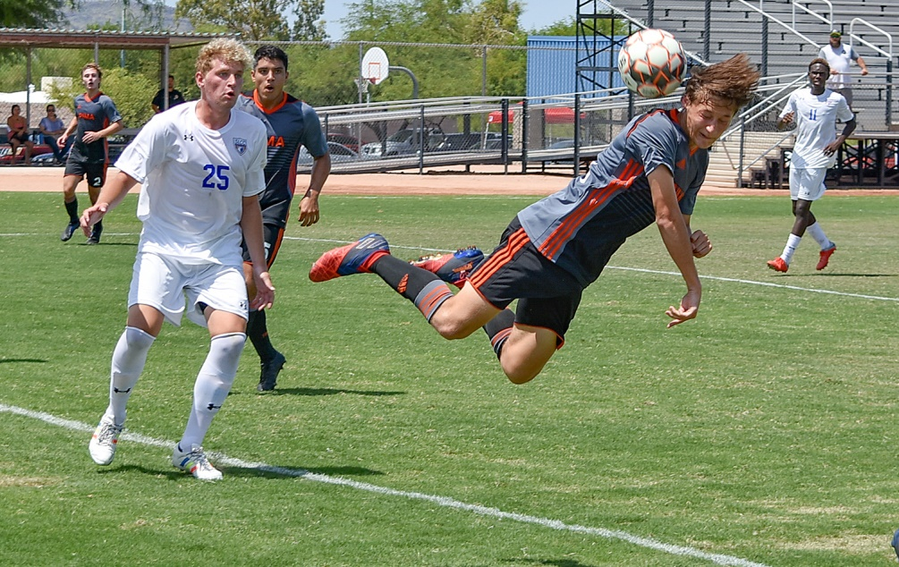 Freshman Estevan Manzo (Salpointe Catholic HS) scored Pima's second goal as the No. 1 ranked Aztecs defeated Paradise Valley Community College 2-1 in their ACCAC conference opener. The Aztecs improved to 1-0-1 overall and 1-0 in ACCAC play. Photo by Ben Carbajal