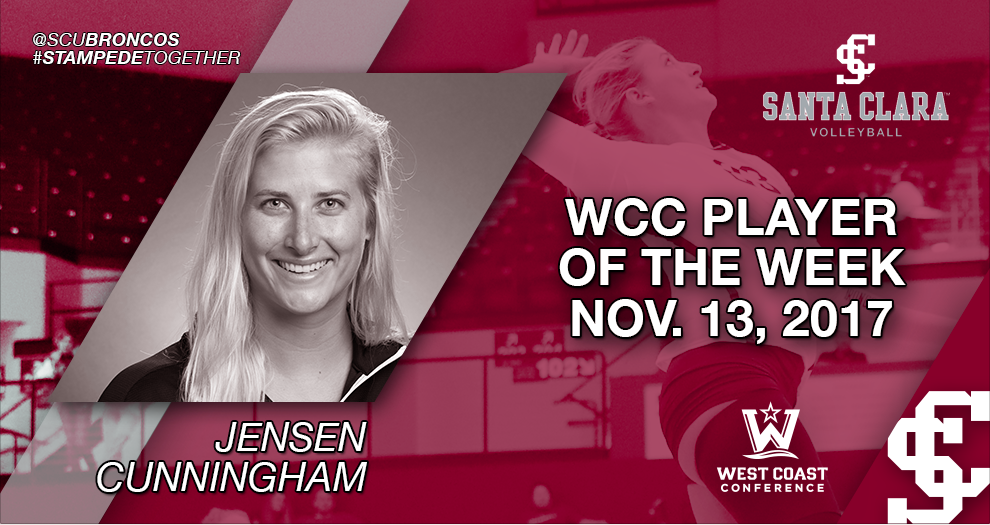 Jensen Cunningham Named West Coast Conference Volleyball Player of the Week