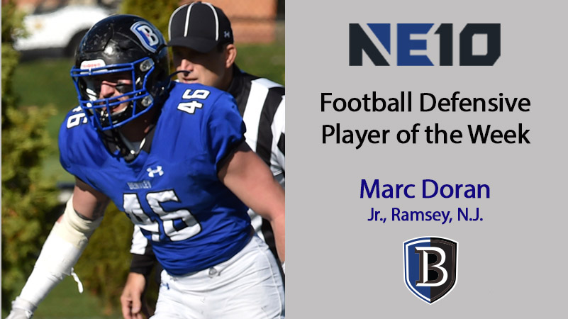 Doran Closes Out Season with NE10 Defensive Player of the Week Honors