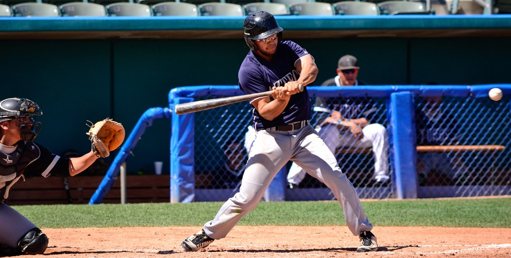 Sophomore Oscar Larranaga (Sunnyside HS) went 3 for 6 on the day as he hit an RBI triple, drew a walk and scored a run. The Aztecs have lost seven straight and are now 18-32 overall and 9-29 in ACCAC conference play. They close out the season at Chandler-Gilbert Community College on Saturday. Photo by Ben Carbajal.
