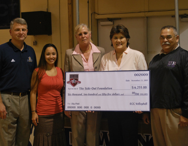 East Coast Conference Presents Dig Pink Check to Side-Out Foundation
