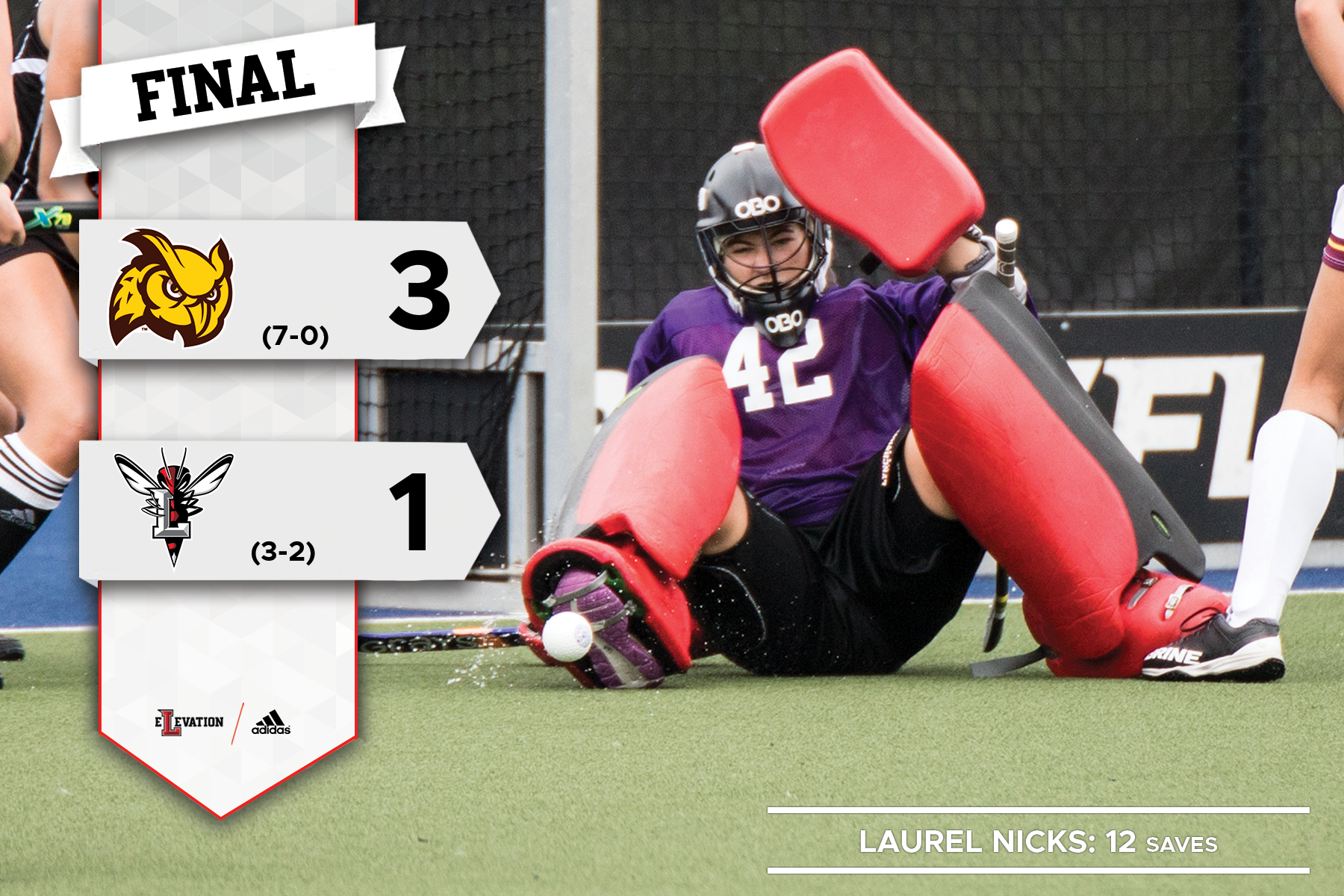 Laurel Nicks slides to make a save in field hockey. Graphic showing Rowan's 3-1 win over Lynchburg with team logos.