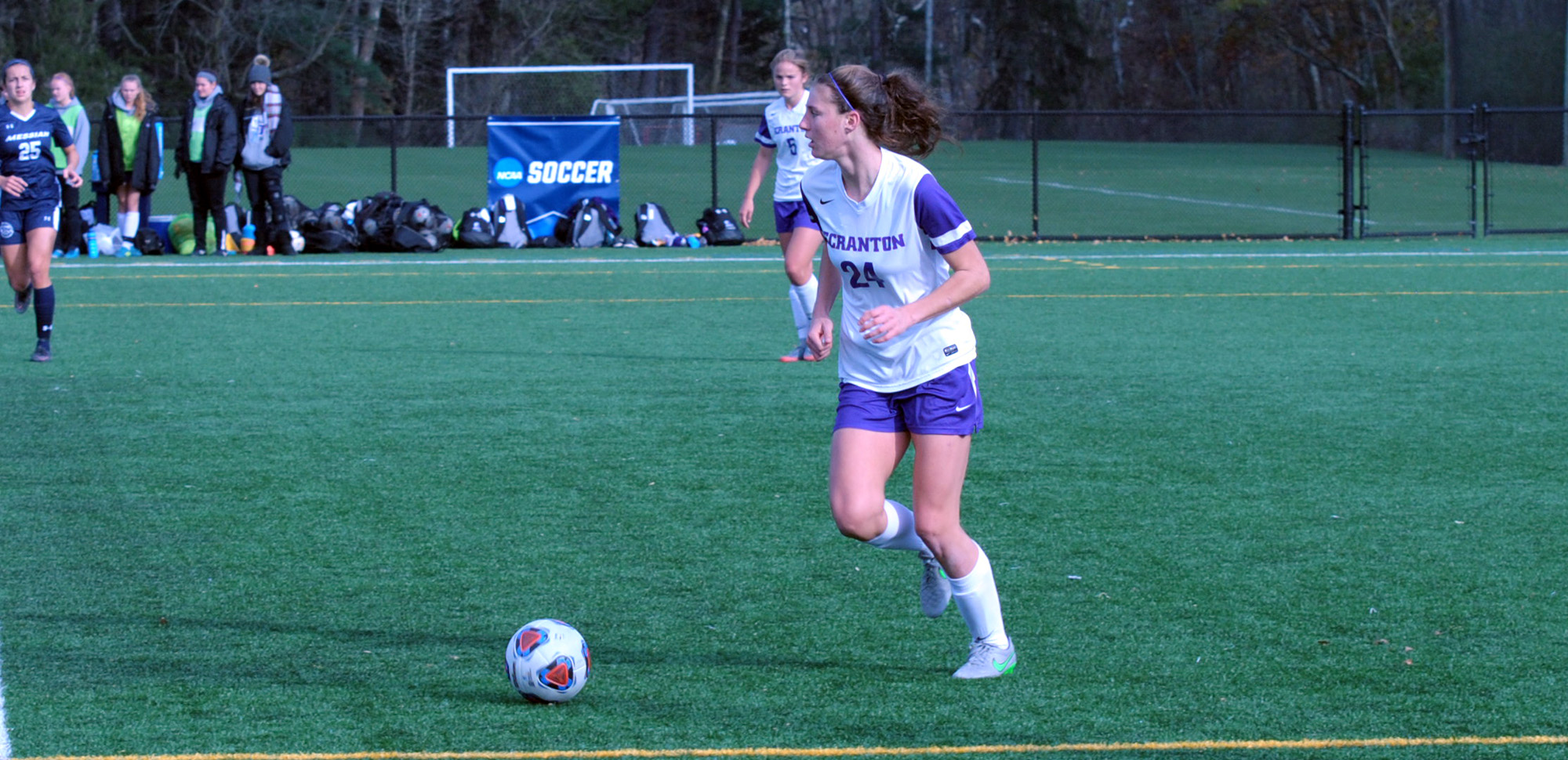 Junior defender Becca Russo scored just before halftime on Friday night against Farmingdale State.
