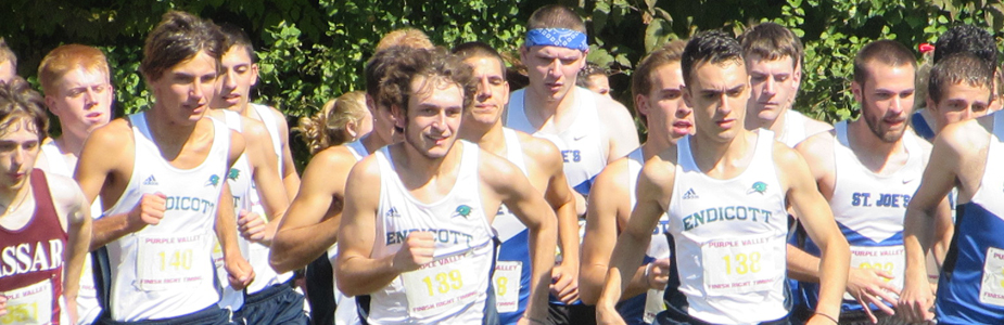 Men's cross country team at the starting line
