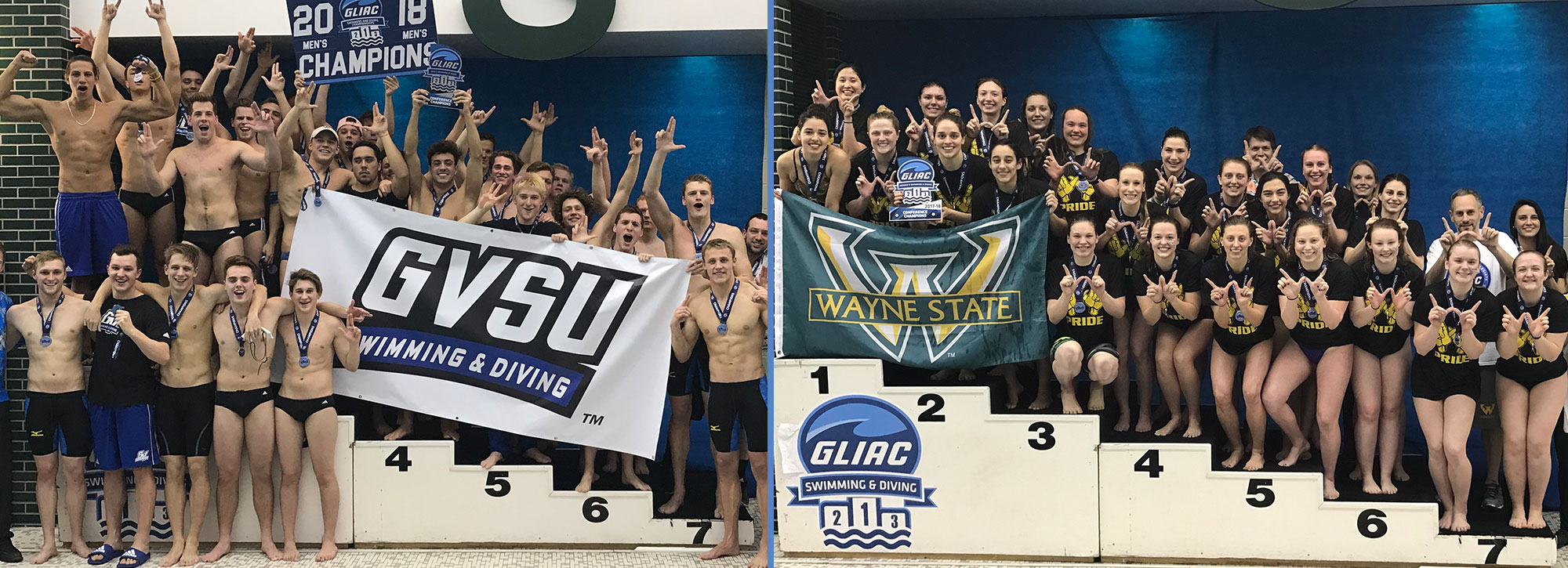 Grand Valley State Men, Wayne State Women Capture 2018 GLIAC Swimming & Diving Championships