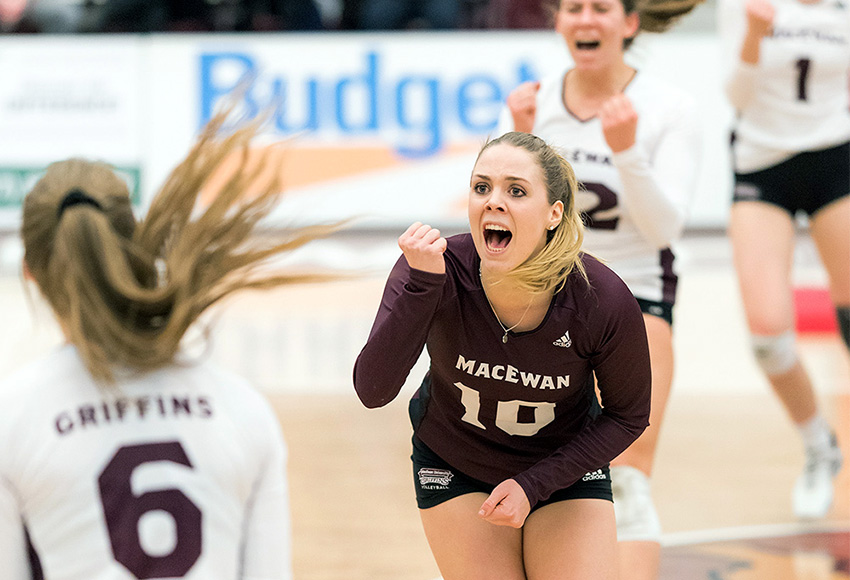 Zoe Cronin and the MacEwan Griffins have their first win of the Canada West season at last, beating the Saskatchewan Huskies 3-2 on Friday night (Chris Piggott photo).