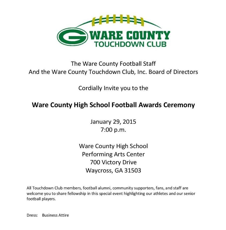 Football Banquet Set for January 29th Ware HS