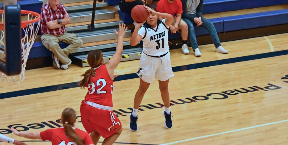 The No. 4 ranked Aztecs women's basketball team drained 16 3-pointers in their 95-53 win at Scottsdale Community College. Freshman Shauna Bribiescas hit a pair of treys as she finished with 16 points. The Aztecs are 12-2 overall and 6-0 in ACCAC conference play. Photo by Ben Carbajal.