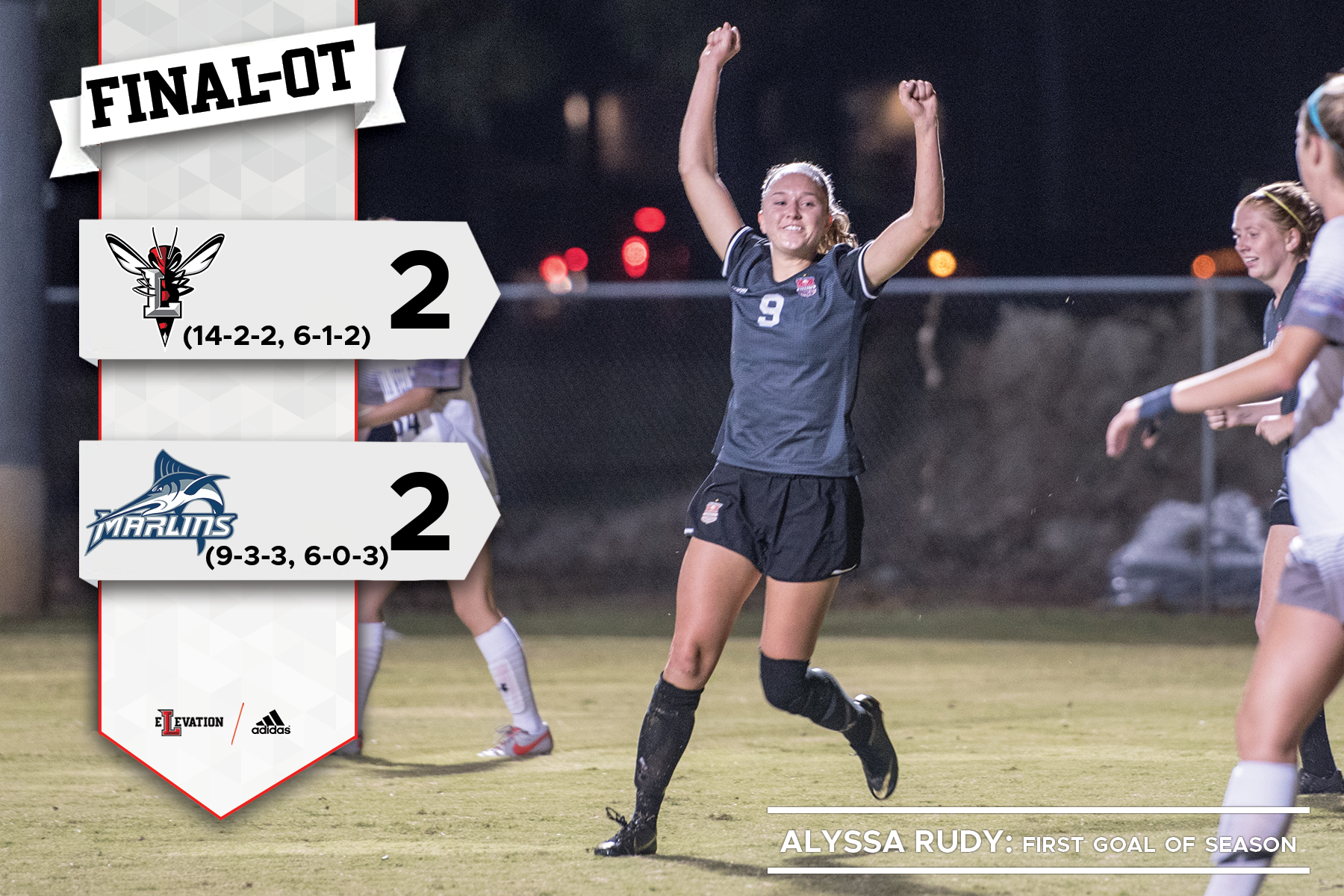 Alyssa Rudy with her arms up celebrating a goal. Graphic on right showing 2-2 final score and team logos and records.