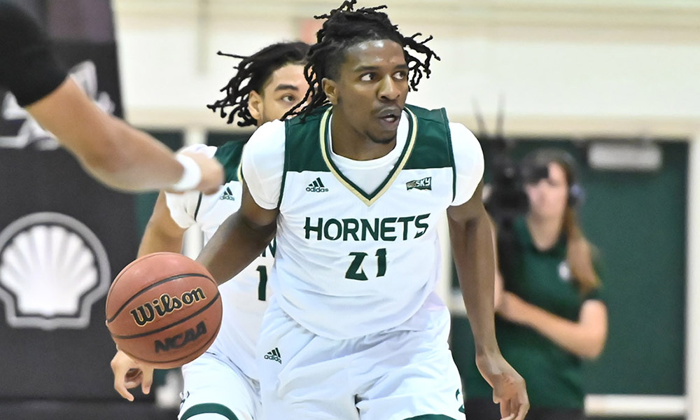 NWACHUKWU'S TWO FREE THROWS WITH 1 SECOND LEFT GIVES HORNETS A 57-56 WIN OVER CAL POLY