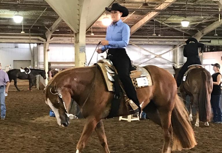 Adrian College graduate Rachel Kanaziz competing in today's American Quarter Horse Association (AQHA) Collegiate Championship horsemanship division in Oklahoma City, Okla. (Photo provided)