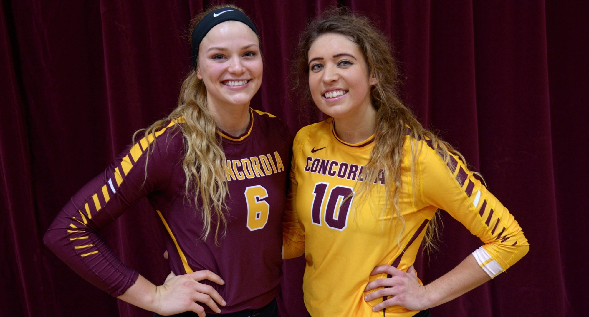 Cobber outgoing players Emily Friedrich (L) and Stephanie Baker were honored befor the Cobbers' upset win over #11 Gustavus.