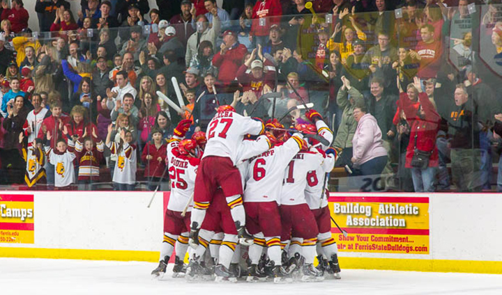 Ferris State Hockey Headed To Grand Rapids After WCHA Playoff Game-Winner In Double OT