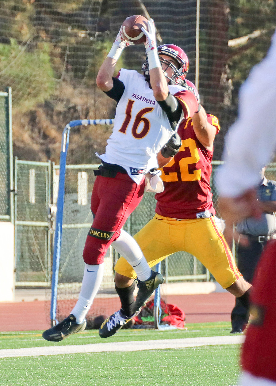 Lancer David Telles had a big night including two touchdowns in PCC's 41-14 win at Glendale College Saturday, photo by Richard Quinton.