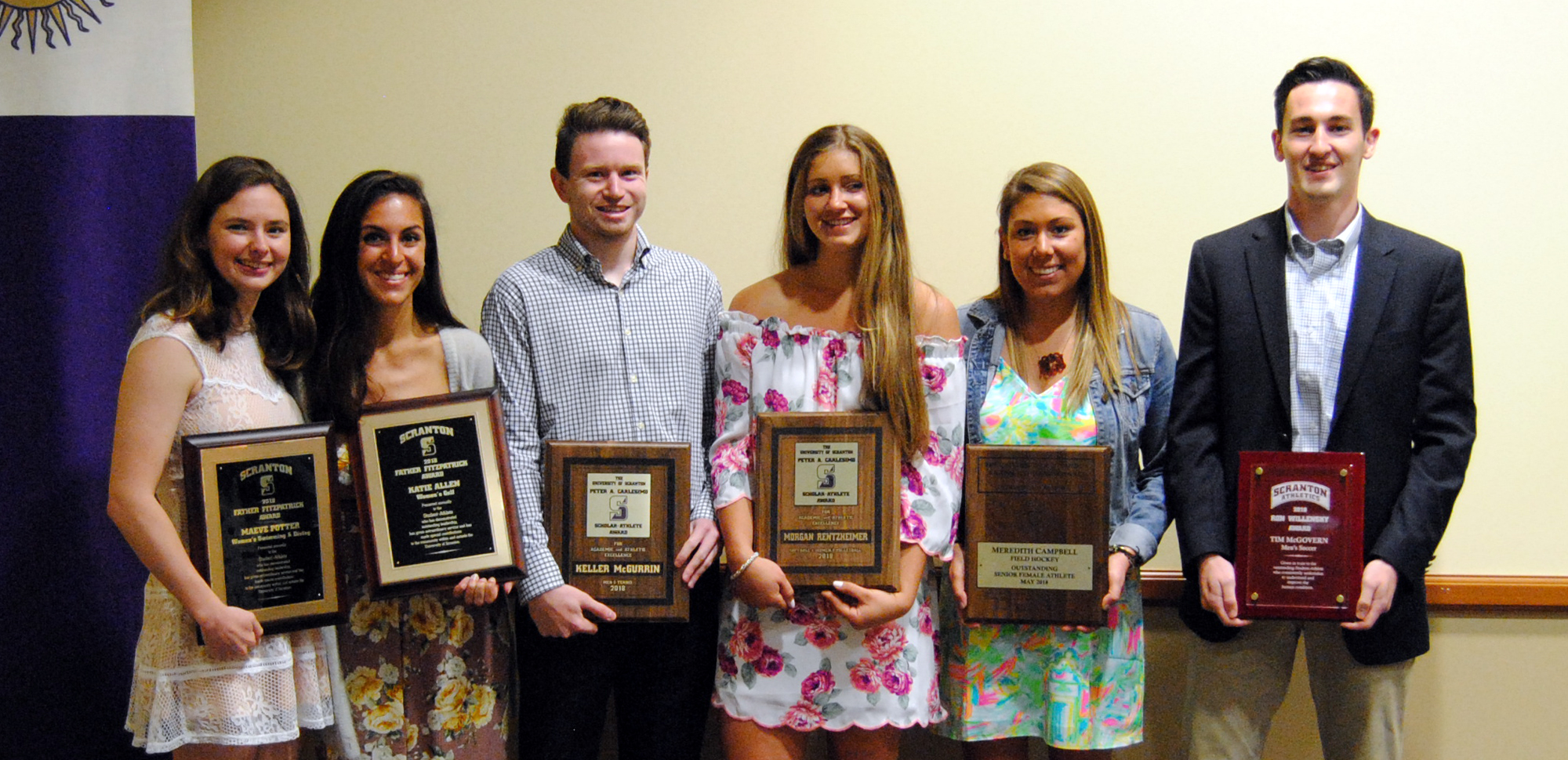 Eight student-athletes received special awards at the Senior Student-Athlete Brunch on Saturday. From left, Maeve Potter, women's swimming & diving, Fitzpatrick Award; Katie Allen, women's golf, Fitzpatrick Award; Keller McGurrin, men's tennis, Carlesimo Award; Morgan Rentzheimer, women's volleyball & softball, Carlesimo Award; Meredith Campbell, field hockey, O'Hara Award; and Tim McGovern, men's soccer, Willensky Award. Not pictured: Richard Endico, men's swimming & diving, Fitzpatrick Award; and Tommy Trotter, baseball, O'Hara Award.