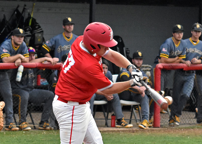 Josh Hines hit a two-out, bases-loaded single in the bottom of the ninth to score the winning run in an 8-7 win over North Carolina Wesleyan on Friday.