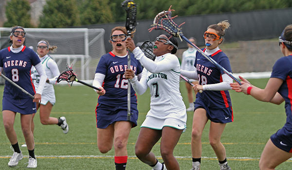 Copyright 2017; Wilmington University. All rights reserved. Photo of one of Lashay Ross' four goals on the day, taken by Frank Stallworth.