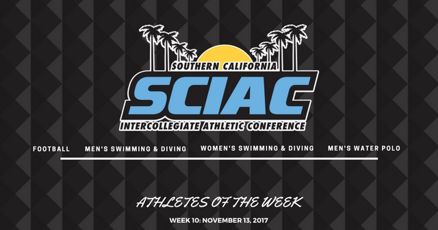SCIAC Athletes of the Week: November 13, 2017