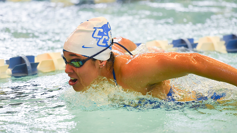 Swimming and Diving in Third Place After Day One at NEC Championships