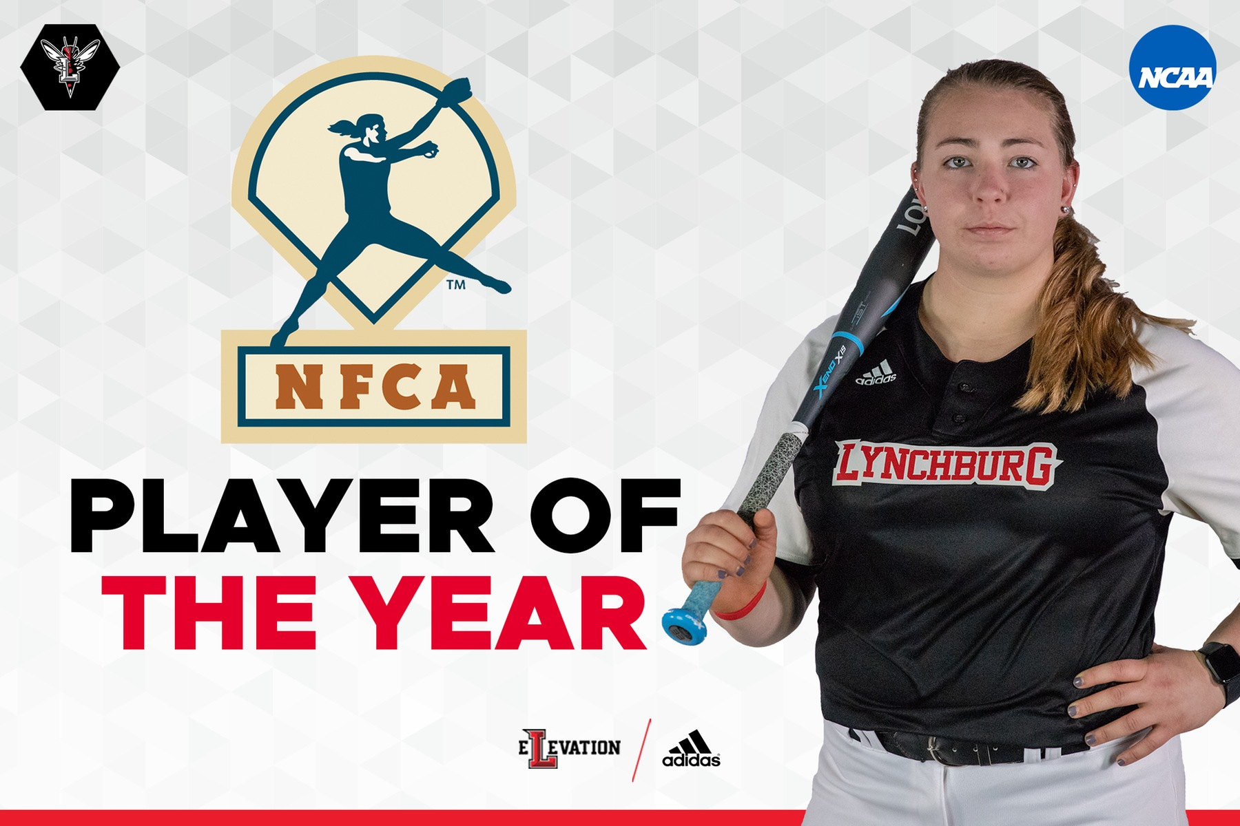 IMage of Mackenzie Chitwood holding bat on white background. Text: NFCA player of the year