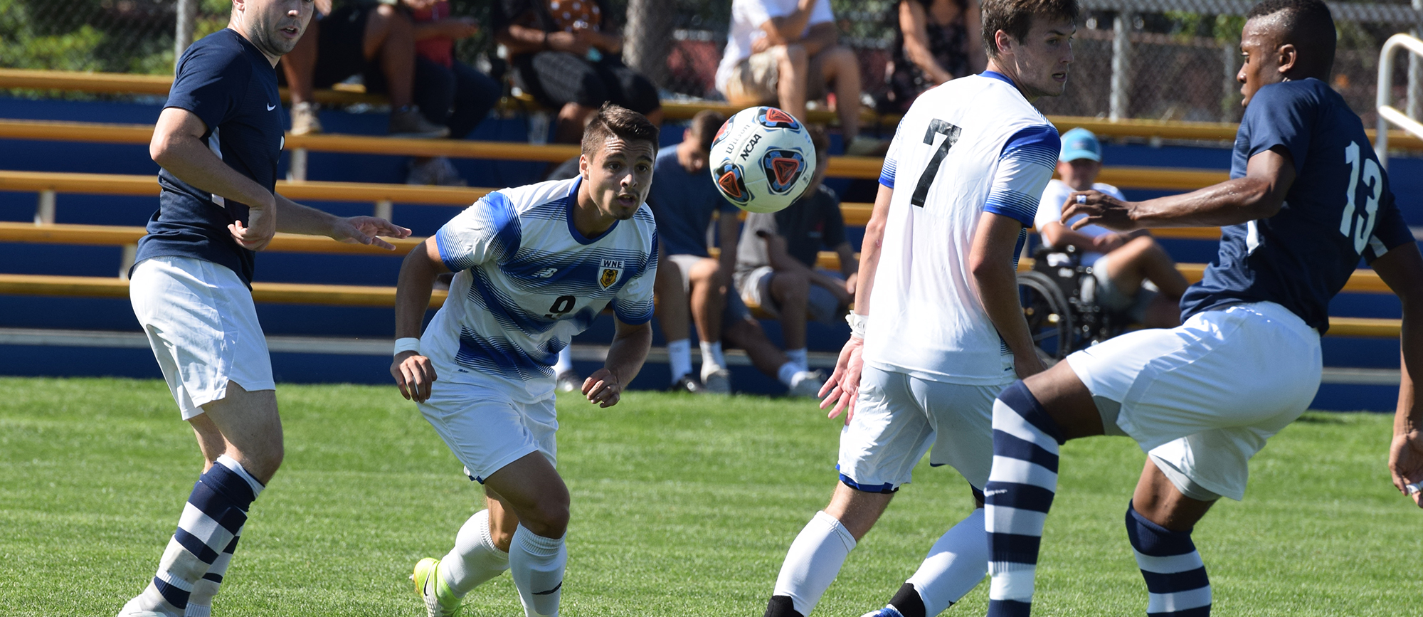 Chris Manousos scored the opening goal in Western New England's 2-2 draw with No. 25 Brandeis on Saturday. (Photo by Rachael Margossian)