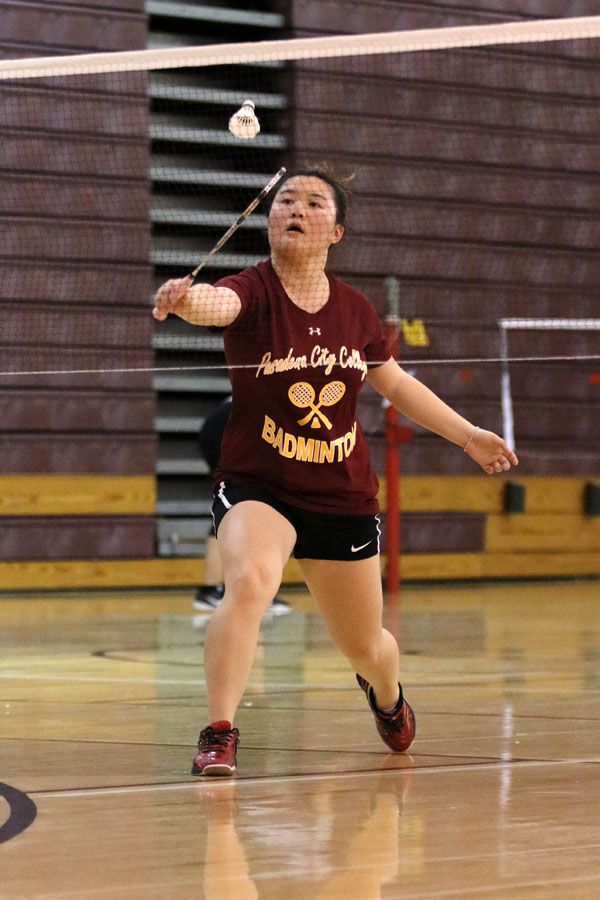 Sophomore Hong Yan Liu has settled in as PCC's No. 2 badminton player this season, photo by Richard Quinton.
